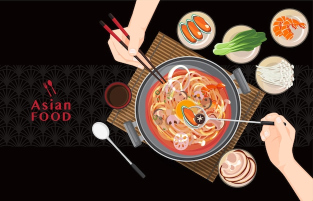 Piatto caldo cinese cibo asiatico, mangiare shabu shabu e sukiyaki in pentola calda Vettore Premium