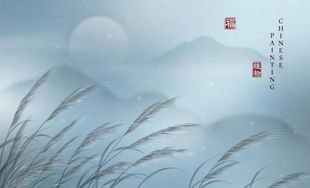 Cinese pittura a inchiostro arte sfondo pianta elegante paesaggio