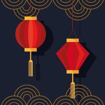 Lampade cinesi appese e pizzi dorati decorazione icone illustrazione design