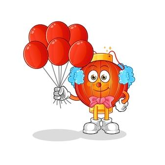 Il clown lanterna cinese con palloncini personaggio mascotte