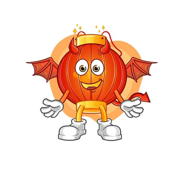 Il demone della lanterna cinese con la mascotte della mascotte del fumetto delle ali. mascotte mascotte dei cartoni animati