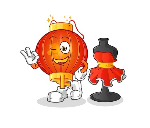 La mascotte del personaggio dello stilista di lanterna cinese