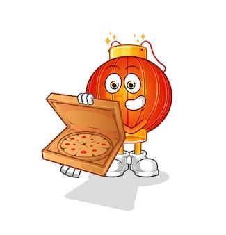La mascotte cinese del carattere del ragazzo di consegna della pizza della lanterna