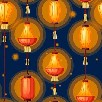 Lanterne cinesi nell'illustrazione piana di forma diversa