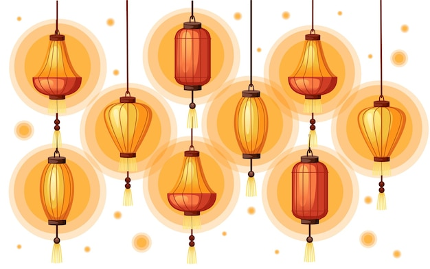 Lanterne cinesi nell'illustrazione di forma diversa