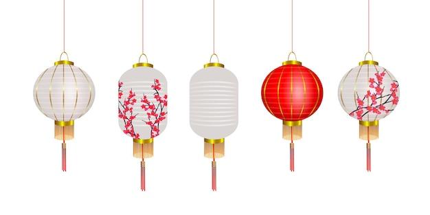 Insieme di vettore di lanterne cinesi, lampade rosse e bianche di capodanno cinese con sakura. decorazione del festival. elementi di design 3d realistici