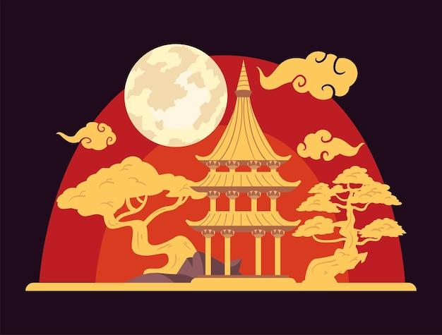 Cartolina cinese della luna con il castello