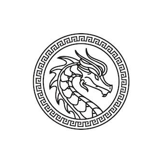 Disegno del logo del medaglione della moneta del distintivo del drago del mito cinese