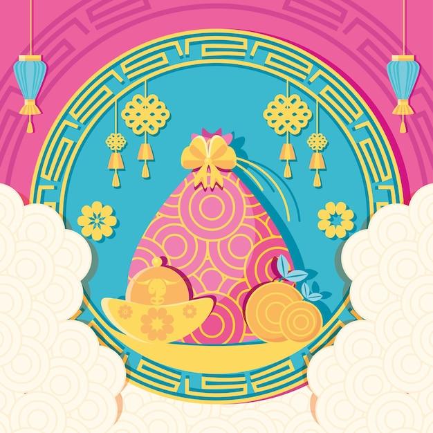 Design cinese di appendini e lampade per il nuovo anno 2021, tema della cultura e della celebrazione della cina