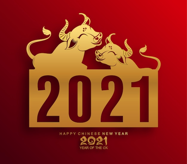 Cartolina d'auguri di capodanno cinese 2021, anno del bue