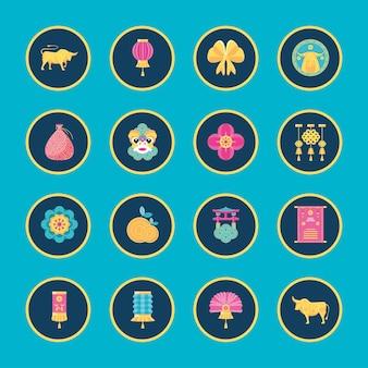 Set di simboli del capodanno cinese 2021, cultura cinese e tema di celebrazione