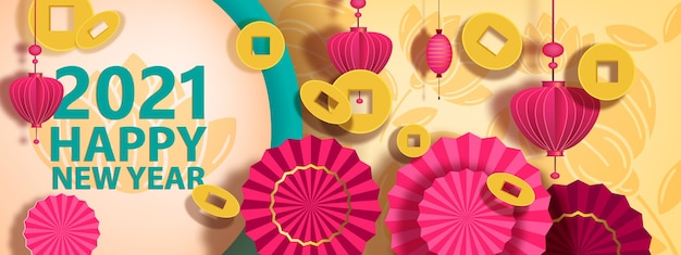 Sfondo di capodanno cinese con monete, ventilatori e lanterne. cartolina tradizionale nei colori oro e rosa. illustrazione di saluto festivo