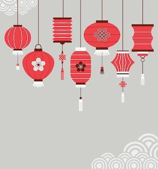 Sfondo di capodanno cinese con lanterne - illustrazione vettoriale