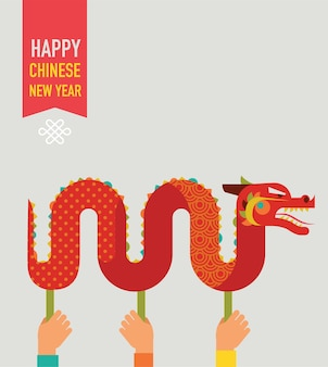 Sfondo di capodanno cinese con drago tradizionale rosso
