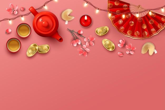 Sfondo di capodanno cinese con teiera e lingotti