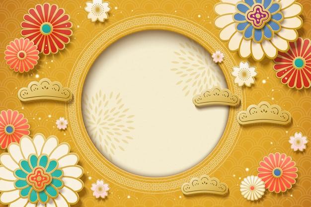 Sfondo bianco nuovo anno cinese con elementi floreali