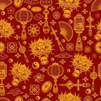 Modello senza cuciture degli elementi del capodanno cinese su fondo rosso