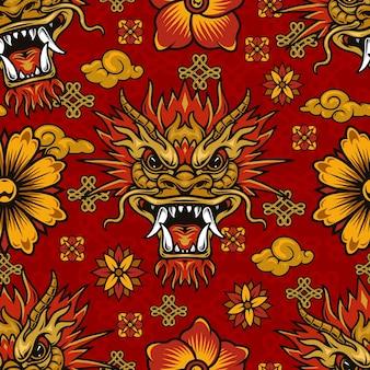 Modello senza cuciture degli elementi del capodanno cinese con drago fantasy, fiori, nuvole e nodi infiniti