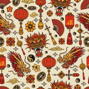 Modello senza cuciture degli elementi del capodanno cinese