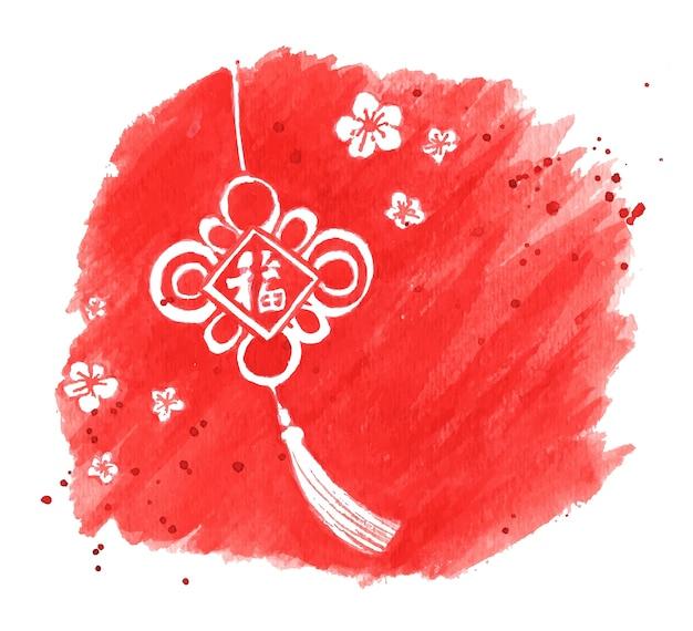 Scheda festiva di capodanno cinese su sfondo rosso con tratto di pennello acquerelli.