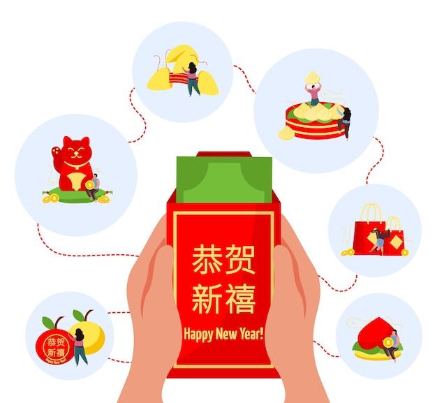 Composizione piatta del nuovo anno cinese con testo di felice anno nuovo in cinese