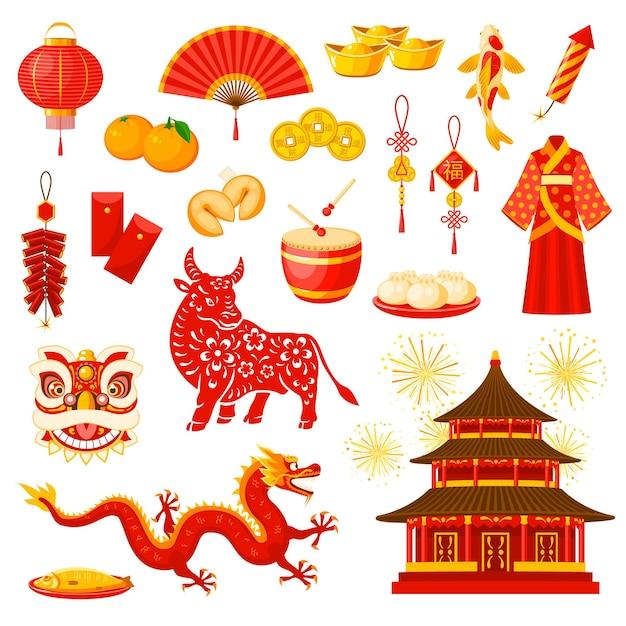 Insieme di simboli di celebrazione di festa di capodanno cinese