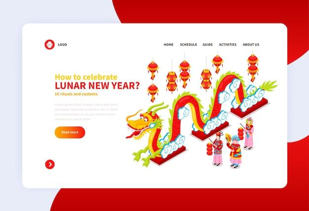 Pagina di destinazione del capodanno cinese con informazioni su come celebrare le festività isometriche