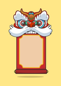 Testa di danza del leone di capodanno cinese che morde un rotolo