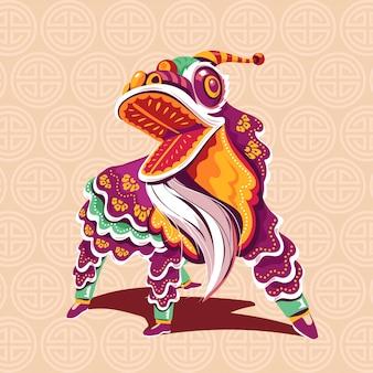 Nuovo anno cinese lion dance con salto e scorrimento vettoriale