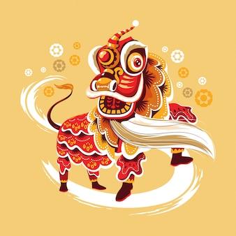Nuovo anno cinese lion dance con salto e scorrimento vettoriale Vettore Premium