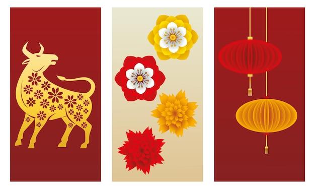 Bue cinese del nuovo anno e lampade che appendono con l'illustrazione dei fiori