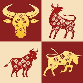 Illustrazione stabilita delle icone dei buoi del nuovo anno cinese