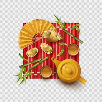 Elementi decorativi cinesi del tea party del nuovo anno