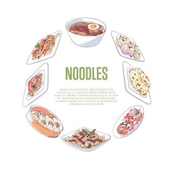 Banner di noodles cinesi con piatti asiatici