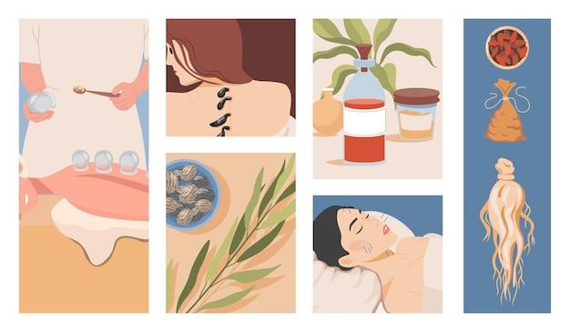 Medicina alternativa cinese o orientale vettore piatto illustrazione guarigione naturale