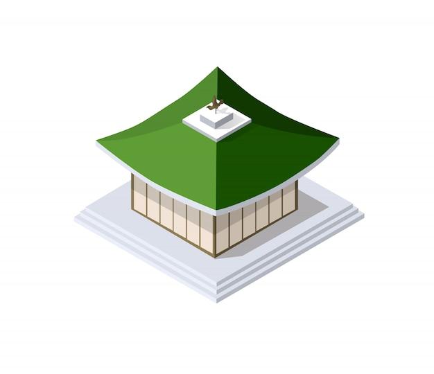 Arte buddista cinese della casa della costruzione della pagoda di Vettore Premium