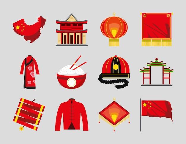 Bandiera cinese dei vestiti della lanterna della pagoda