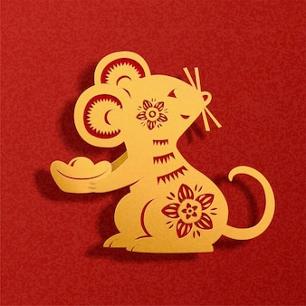 Topo cinese di arte di carta che tiene lingotto d'oro su sfondo rosso
