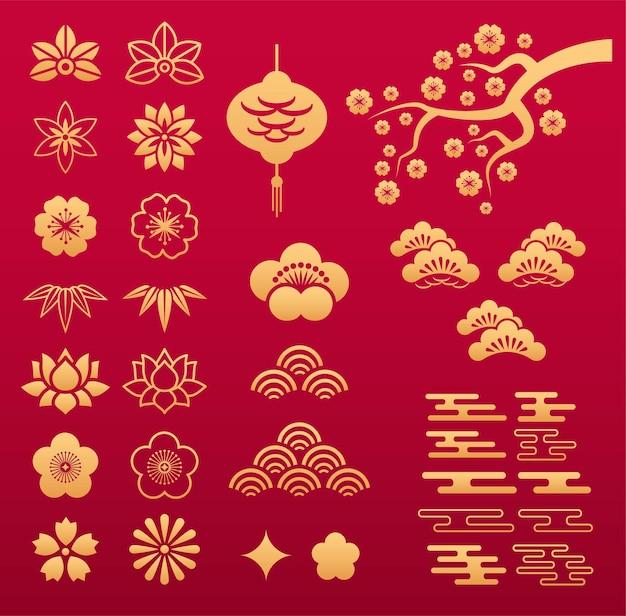Modello cinese. ornamenti floreali asiatici in oro ed elementi decorativi