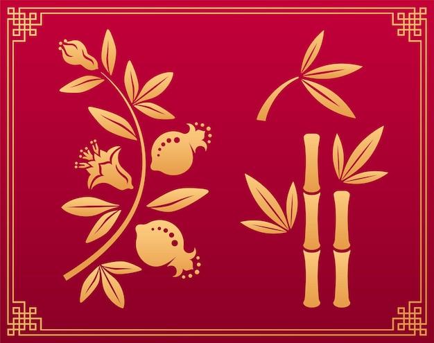Modello cinese. elementi decorativi floreali orientali giapponesi