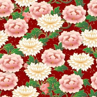 Modello senza cuciture fiore rosa cinese.