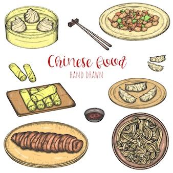 Insieme disegnato a mano di vettore dei piatti popolari cinesi, illustrazione isolata schizzata dei pasti.