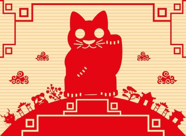 Carta della cultura del gatto rosso cinese
