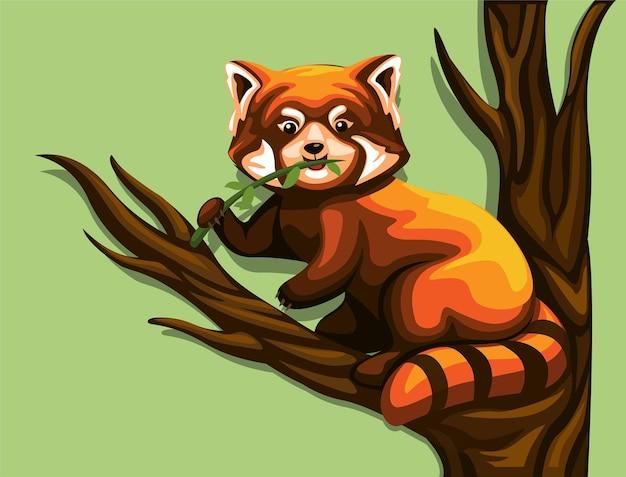 Panda rosso cinese che mangia le foglie nel fumetto dell'illustrazione dell'animale esotico dell'albero