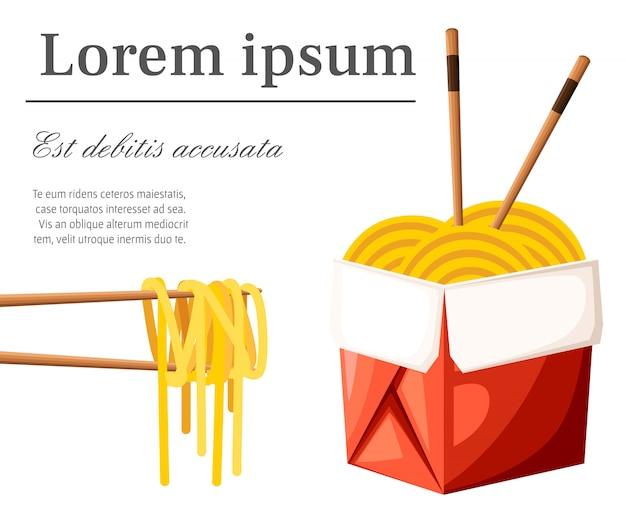 Il ristorante cinese porta via il concetto. contenitore di cibo rosso con tagliatelle e bastoncini. illustrazione con posto per il testo su sfondo bianco. pagina del sito web e app per dispositivi mobili
