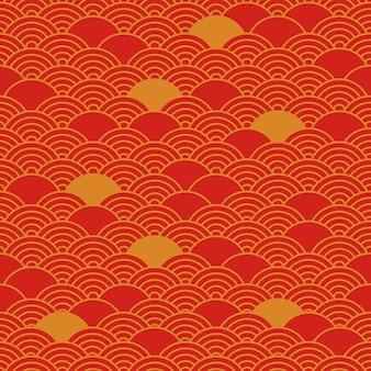 Modello senza cuciture cinese, sfondo orientale, colori rossi e dorati. illustrazione