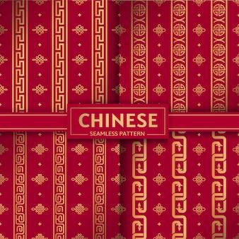 Set di vettore cinese senza cuciture catene verticali geometriche nodi cinesi textures