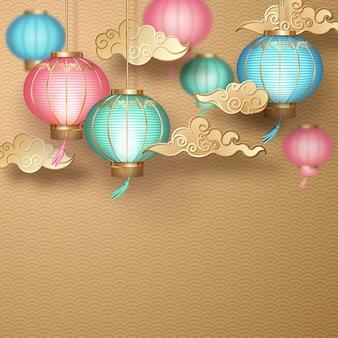 Banner in stile cinese con lanterne di carta appese e nuvole decorative