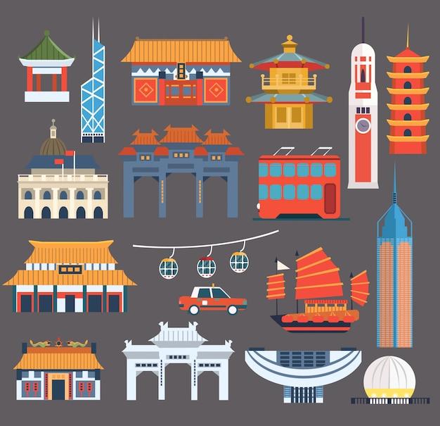 Collezione di punti di riferimento simbolici cinesi Vettore Premium