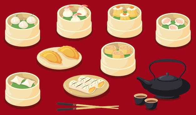 Cinese o taiwan servivano illustrazioni piatte di cibo. gnocchi asiatici tradizionali del fumetto e dim sum isolati sul rosso